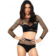 LEG AVENUE 2 PIECES SET NET LONG SLEEVED TOP AND HIGH WAISTED ONE SIZE - 1