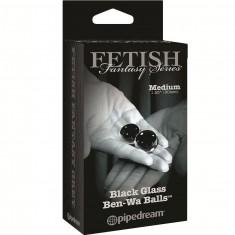 FETISH FANTASY LIMITED EDITION MEDIUM BLACK GLASS BEN-WA BALLS. - 2