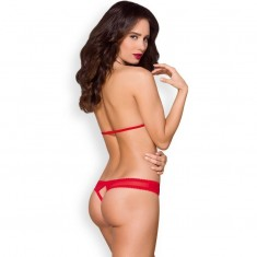 OBSESSIVE - 870-SEC-1 PADDED BRA AND CROTHLESS THONG S/M