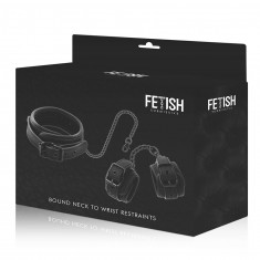 FETISH SUBMISSIVE  COLLAR AND WRIST CUFFS VEGAN LEATHER - 1