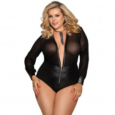 SUBBLIME QUEEN PLUS ZIP AND LONG SLEEVE TEDDY S/M - 1