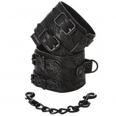 SPORTSHEETS LACE DOUBLE STRAP HANDCUFFS - 1