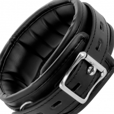 DARKNESS BLACK SOFT COLLAR WITH LEASH LEATHER