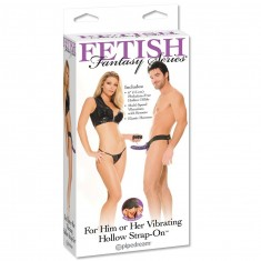 FETISH FANTASY VIBRATING HOLLOW STRAP-ON FOR HER OR HIM PURPLE. - 1