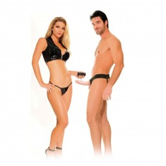 FETISH HOLLOW VIBRATOR HARNESS FOR HIM AND HER NATURAL 14CM