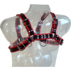 LEATHER BODY CHAIN HARNESS III BLACK / RED - 1