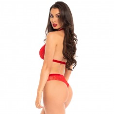 LEG AVENUE TWO PIECES SET HALTER TOP AND PANTIES RED S/M