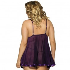 SUBBLIME QUEEN PLUS BABYDOLL WITH BOW AND SHINNY DETAILS  PURPLE