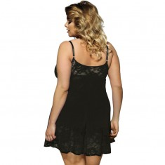 SUBBLIME QUEEN PLUS FLORAL LACES BABYDOLL BLACK