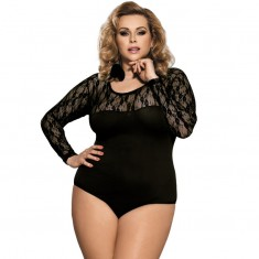 SUBBLIME QUEEN PLUS LONG SLEEVED BLACK TEDDY - 1