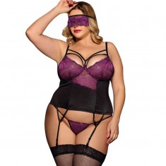 SUBBLIME QUEEN PLUS CORSET THING AND BLINDFOLD BLACK AND PURPLE - 1