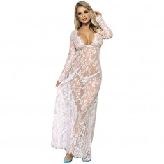 SUBBLIME LONG SLEEVE LONG DRESS WHITE S/M - 1