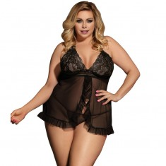 SUBBLIME QUEEN PLUS OPEN BABYDOLL BLACK - 1
