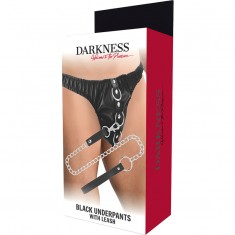 DARKNESS BLACK UNDERPANTS WITH LEASH