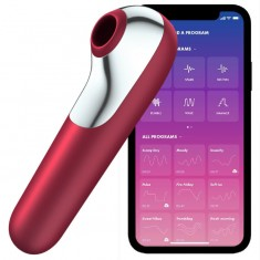 SATISFYER DUAL LOVE VIBRATOR AND SUCTIONER WITH PULSED AIR RED - 1