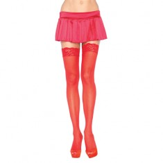 Leg Avenue Sheer Thigh Highs With Lace Tops Red  UK 8 to 14