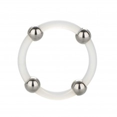Steel Beaded Silicone Ring XL