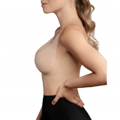 BYE BRA BREAST LIFT PADS + 3 PAIRS OF SATIN NIPPLE COVERS - BEIGE SIZE D-F