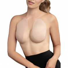 BYE BRA BREAST LIFT PADS + 3 PAIRS OF SATIN NIPPLE COVERS - BEIGE SIZE F-H