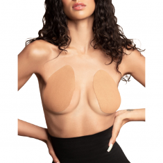 BYE BRA BREAST LIFT PADS + 3 PAIRS OF SATIN NIPPLE COVERS - BROWN SIZE D-F