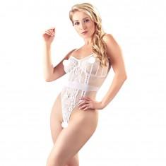 NO XQSE Lace Crotchless Body White UK Size 812