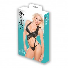 Naughty Faux Leather Wrap Teddy Black OS