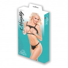 Naughty Faux Leather Open Top & G-String 2 Pc Set Black OS
