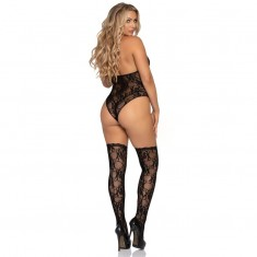 LEG AVENUE LACE DEEP -V TEDDY AND STOCKINGS ONE SIZE
