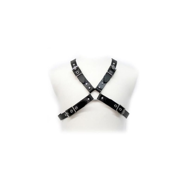 LEATHER BODY BLACK BUCKLE HARNESS FOR MEN - 1