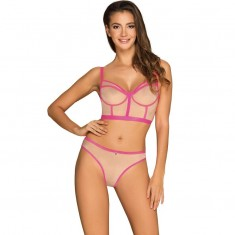 OBSESSIVE - NUDELIA TWO PIECES SET - PINK L/XL