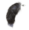 OHMAMA SILVER BUTT PLUG 8 CM AND BLACK TAIL