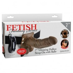 """FETISH FANTASY SERIES 7"""" VIBRATING HOLLOW STRAP-ON WITH BALLS"""