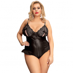 QUEEN LINGERIE LEATHER STITCHING TEDDDY PLUS SIZE