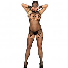 QUEEN LINGERIE BREASTLESS AND HEAD-COVER BODYSTOCKING S-L