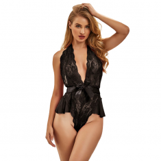 QUEEN LINGERIE DEEP V BACKLESS LACE TEDDY S/M