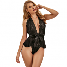 QUEEN LINGERIE DEEP V BACKLESS LACE TEDDY L/XL