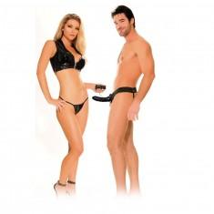 FETISH FANTASY VIBRATING HOLLOW STRAP-ON FOR HER OR HIM BLACK